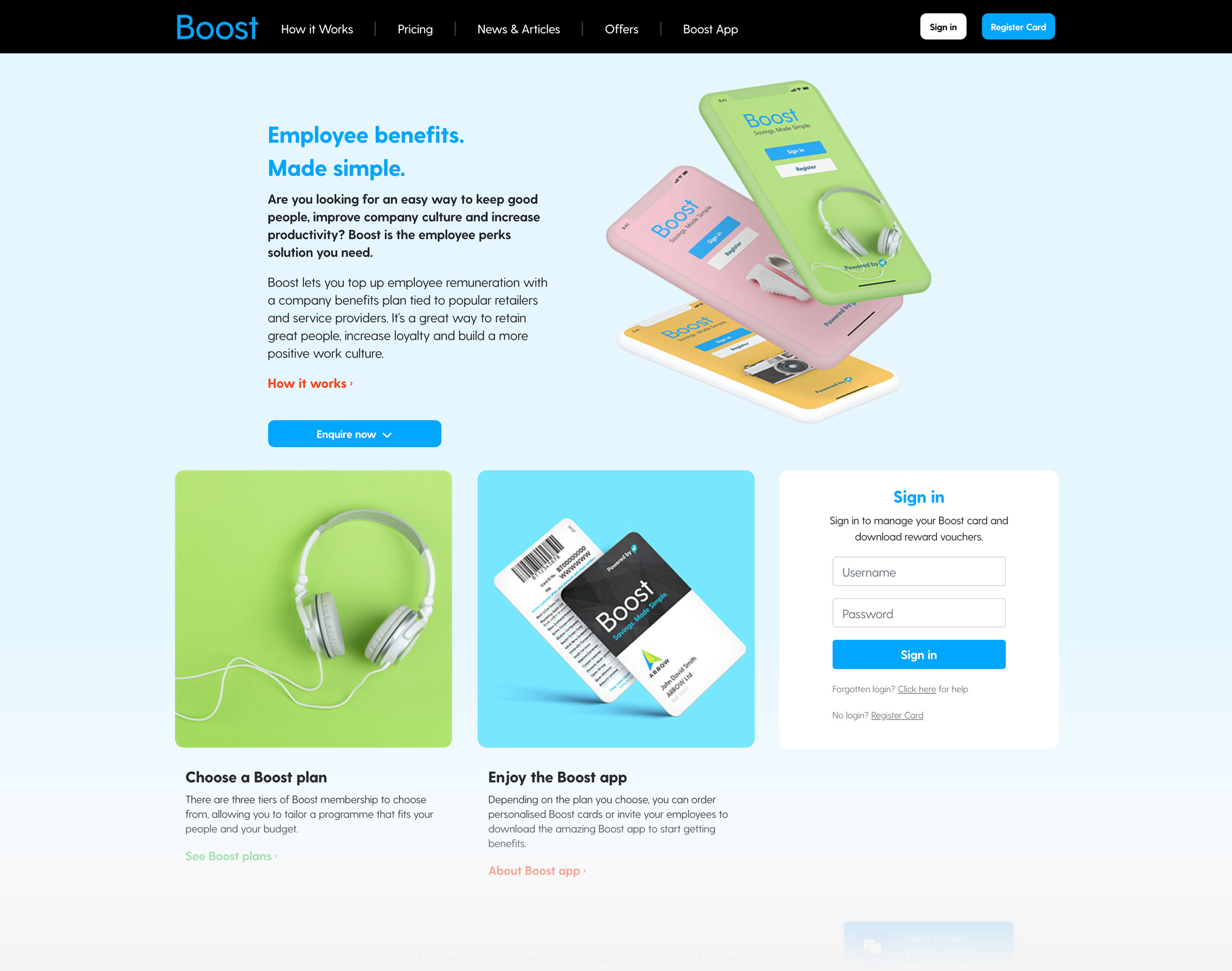 Boost website design